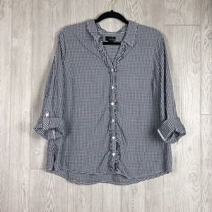 Erika Blue Gingham Button Down Top E14